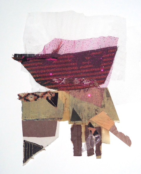 "Martie Zelt Recent ""Tiny Tims"" Mixed papers and fabric"