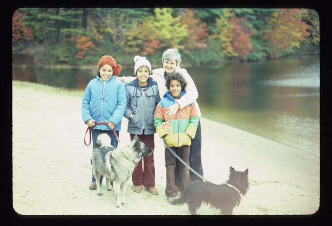 Family Photos On the beach, 4th Lake, Three siblings, our mother Mary-Alice, with our dogs Elky and Bunty ( the scottie), Adirondacks, NY