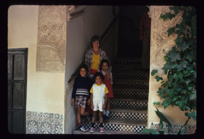 Family Photos Toledo, Spain, steps with islamic tiles, Mary-Alice,Miguel, Miguel-Ivan, Rita-Alicia