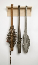martin kline Sculpture wood and iron nails, bronze, stainless steel