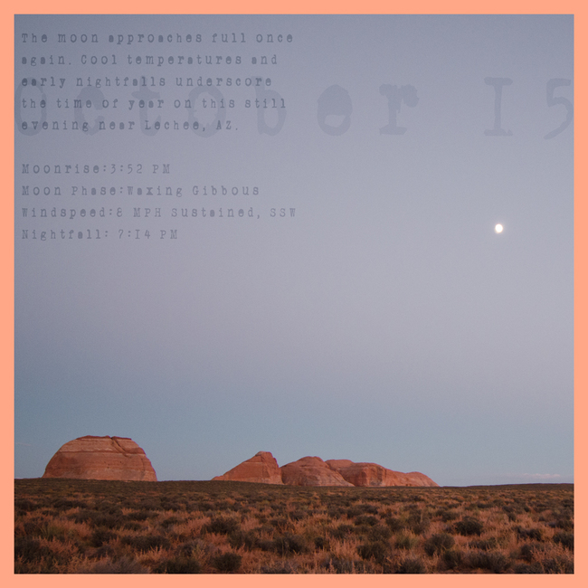 Autumn Almanac Fifteen October:  Moonrise Desert View