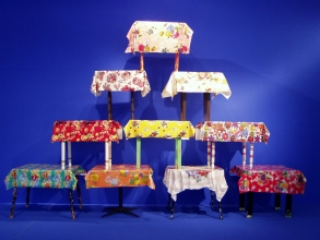 Marty Baird Installations oilcloth tablecloths, made and found tables, paint