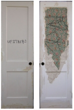 Marty Baird Installations oilstick, oils, acrylic, wallpaper on door