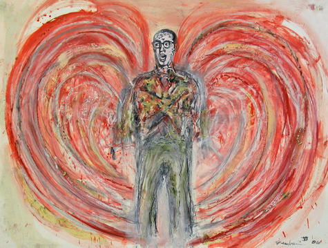 Marty Greenbaum Man on Fire mixed media on paper