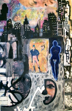 Marty Greenbaum Doors & Walls mixed media on paper