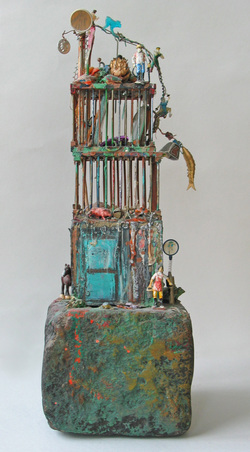 Marty Greenbaum Freestanding Bamboo, rock, string, mixed media