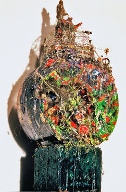 Marty Greenbaum Freestanding glass, rock, string, wax, mixed media