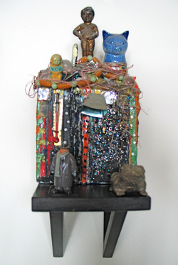 Marty Greenbaum Wall Reliefs steel, rock, glass, string, ceramic, mixed media