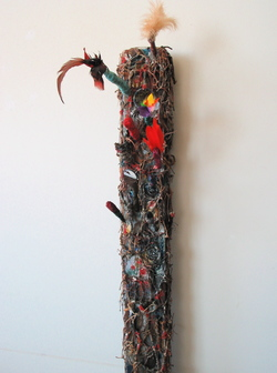 Marty Greenbaum Wall Reliefs wood, chain, string, feathers, mixed media