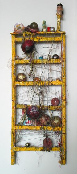 Marty Greenbaum Wall Reliefs plastic, thread, stones, glass balls, mixed media