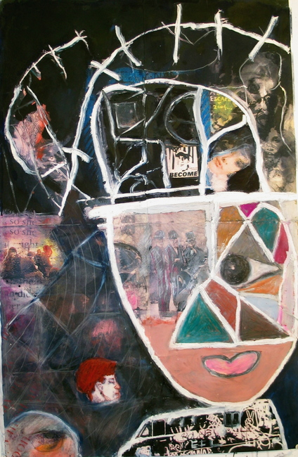 Marty Greenbaum Heads mixed media on paper