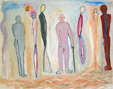 Marty Greenbaum Figures mixed media on paper