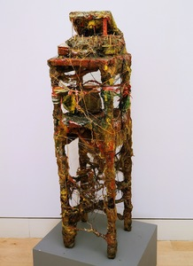 Marty Greenbaum Freestanding wood, rock, flax, string, mixed media
