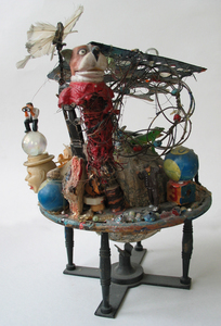 Marty Greenbaum Freestanding metal, plastic, figures, mirror, mixed media