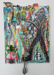 Marty Greenbaum Wall Reliefs wood, metal sinker, mirror, mixed media