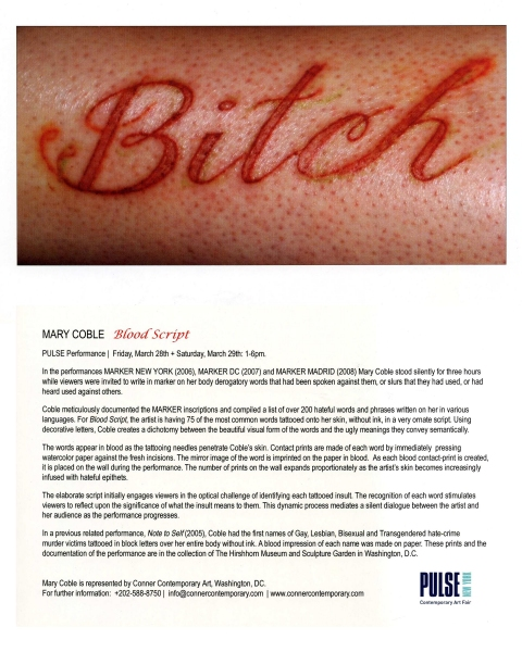 MARY COBLE Blood Script, 2008