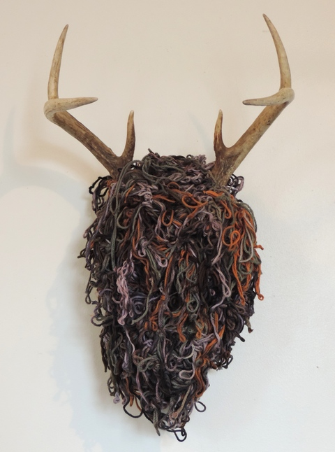 MARY LEARY sculpture deer head, cotton