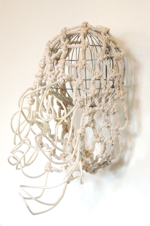MARY LEARY sculpture nylon, metal, found objects