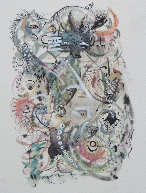 MARY LEARY recent work ink water color