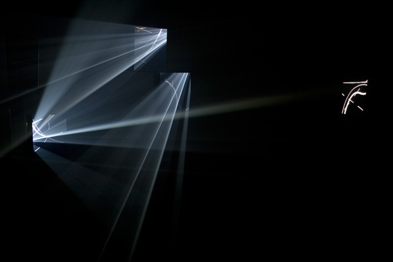 Masako Miyazaki Glyph (installation) Digital projection, animation, mirrors, fog