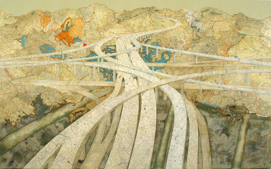 Matthew Cusick Map Works Inlaid maps, acrylic, on panel