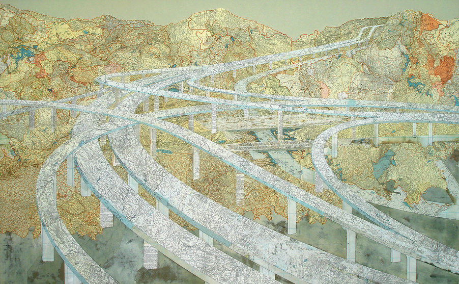 Matthew Cusick Map Works Inlaid maps, acrylic on panel.