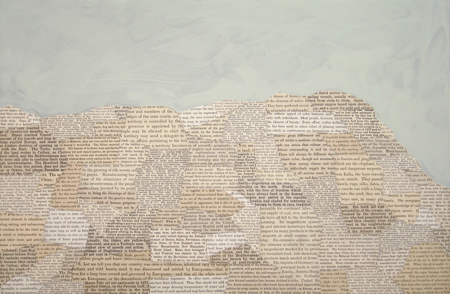 Matthew Cusick Passages Book pages, acrylic, on panel