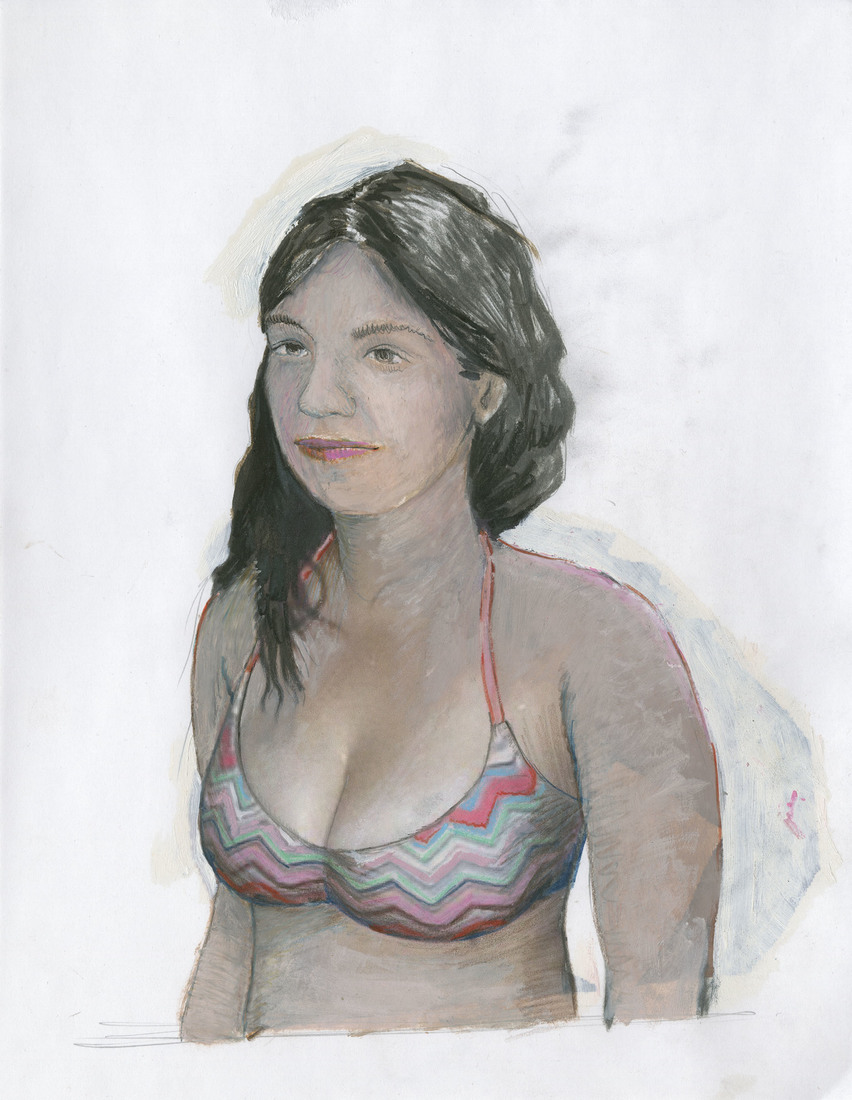 Works on Paper Woman in a Chevron Pattern Bikini