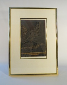 M-B HOME  -  Style Source For The Well Designed Home ART  Linthograph on paper in gold frame