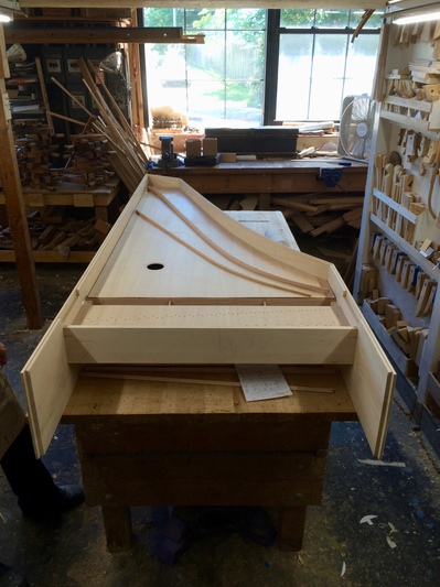 harpsichord decoration for Middlesex School Harpsichord being built at Zuckermann's shop in Stonington, CT