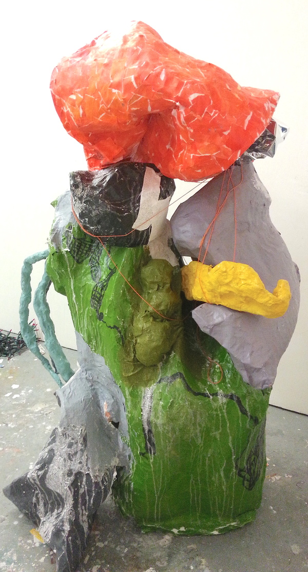 sculpture Untitled (orange, green, purple drip)