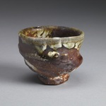Guinomi Stoneware, red art sip, shino glaze, natural ash glaze
