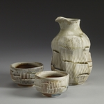 Pouring Vessels porcelaineous stoneware, white shino, natural ash glaze