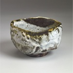 Chawan Stoneware, red art slip, shino glaze, natural ash glaze
