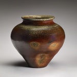 Large Forms Stoneware, natural ash glaze, sea shells, shino glaze liner
