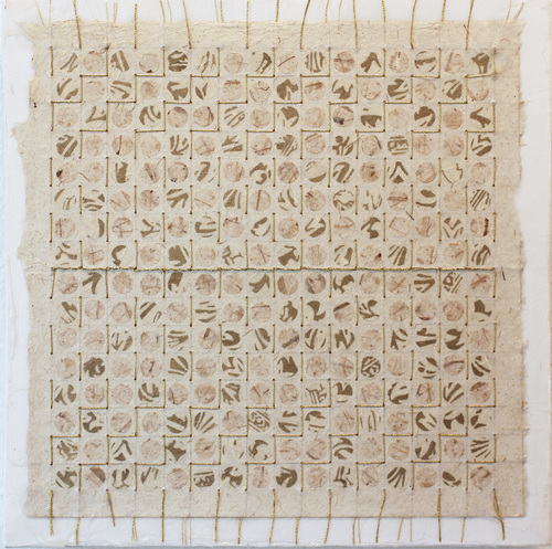 Meg Pierce Fiber + Stitch + Paint  handmade paper, stitched gold thread mounted on canvas