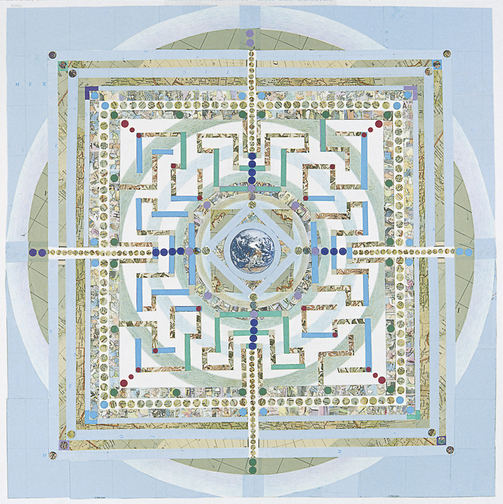 Meg Pierce Mandalas Papers, maps, tape transfer comics, colored  pencil on board