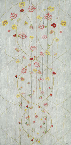 Meg Pierce Fiber + Lace + Paint flowers cut from vintage handkerchiefs, thread, acrylic on canvas