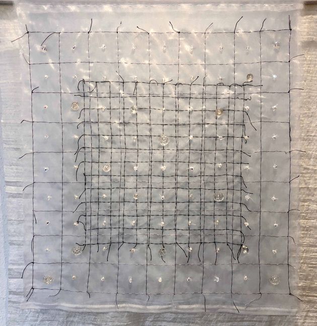 Meg Pierce Stitch + Layered Hangings 2018 layered hanging organza, silk, glass buttons, beads
