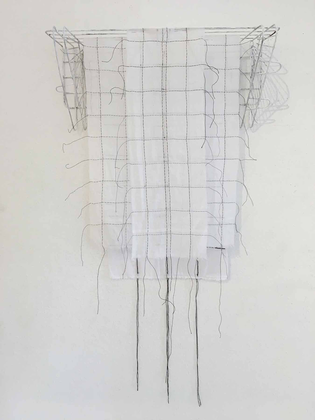 Meg Pierce Stitch + Layered Hangings 2018 hand-stitched and drawn cotton, found wire