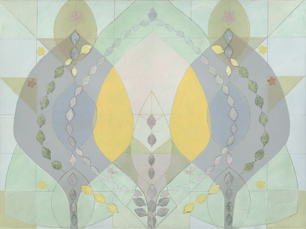 Meg Pierce Fiber  + Paint silk leaves, vintage fabric, graphite, gouache (Flashe) acrylic on canvas
