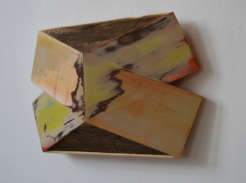 "Melinda Rosenberg ""X's"" aniline dyes and acrylic on maple, pine and cedar"