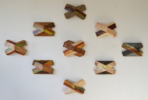 "Melinda Rosenberg ""X's"" aniline dye and paint on maple, pine and found wood"