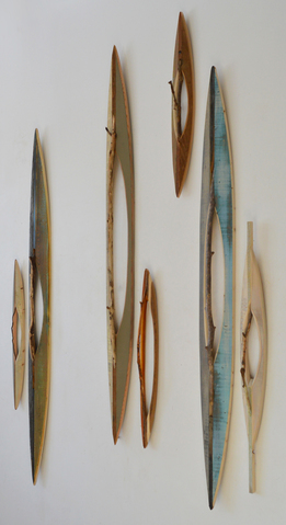 Melinda Rosenberg Boats sticks, aniline dyes and paint on pine and found wood