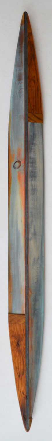 Melinda Rosenberg Boats aniline dyes and paint on pine and old oak cutting board
