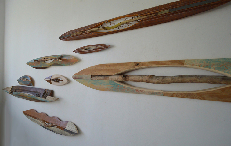 Melinda Rosenberg Boats stick, aniline dyes and paint on pine and mantel