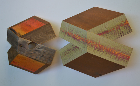 "Melinda Rosenberg ""X's"" aniline dyes and paint on found wood and pine"