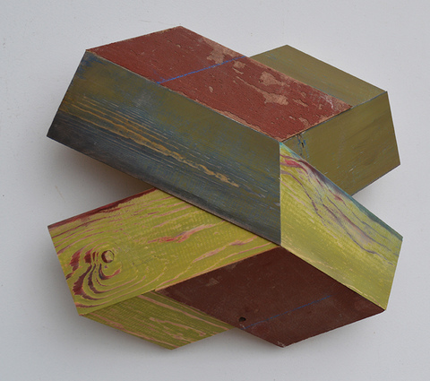 "Melinda Rosenberg ""X's"" aniline dyes and paint on pine and barn siding"