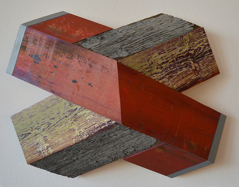 "Melinda Rosenberg ""X's"" aniline dyes and paint on pine and old wood"