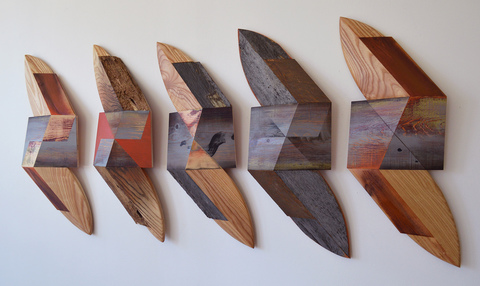 Melinda Rosenberg Board Series aniline dyes and paint on pine and ash with found wood